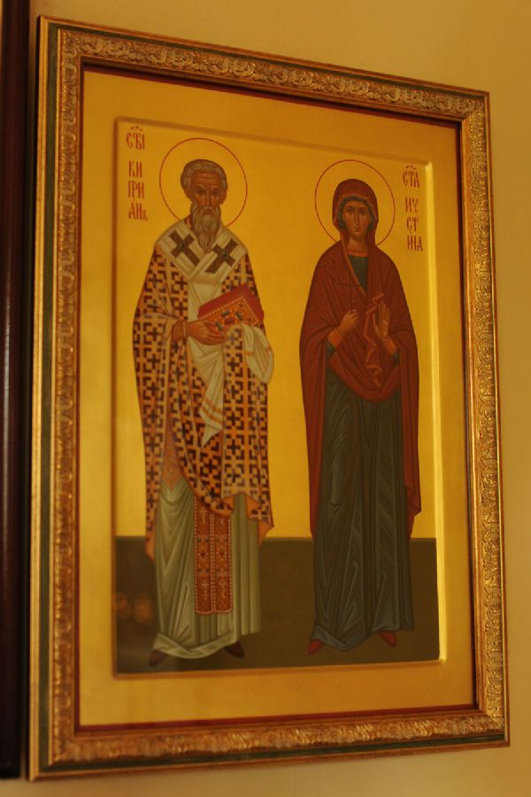 Икона Святого Мученика Киприана и Святой Мученицы Иустины