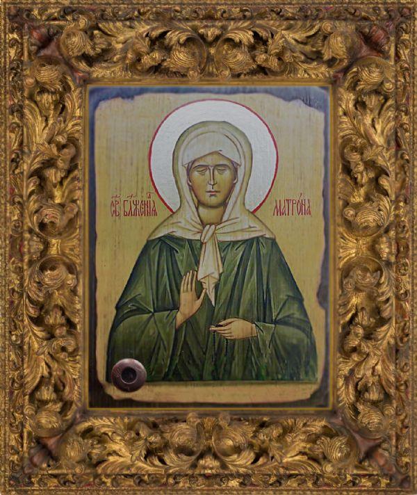 Икона Святой блаженной Матроны Московской  с частичкой