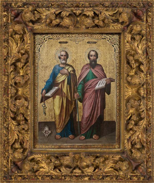 Икона Святых первоверховных апостолов Петра и Павла  с частичкой